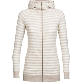Icebreaker Crush LS Zip Hood Damen fawn hthr/snow/stripe